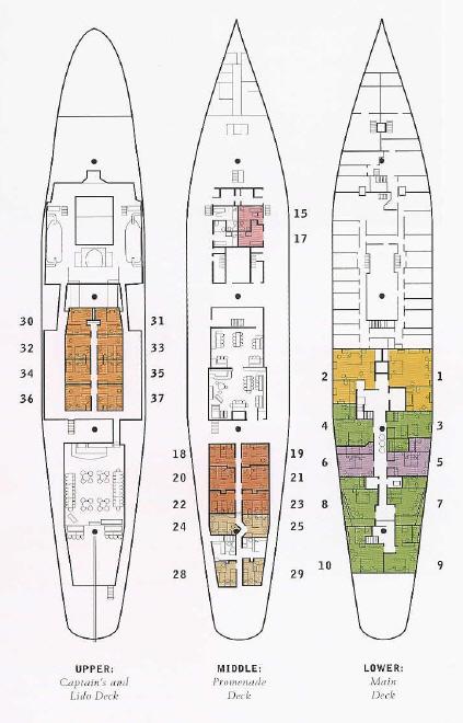 Luxury Cruises Sea Cloud: Deck Plans  2003