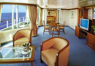 All Suite Cruises - Balcony, Veranda - Radisson Seven Seas Cruises: Voyager-700 Guests, Mariner-700 Guests, Navigator-490 Guests, Diamond-350 Guests, Paul Gauguin-320 Guests, Song of Flower-180 Guests